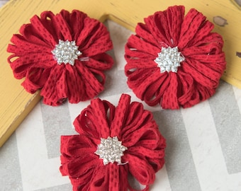 Red ballerina flowers, Red fabric flower supplies, red shabby chiffon flowers, craft supplies, large flowers, wholesale flowers supplies