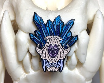 Crystal Flower Tiger Skull Soft Enamel Pin 30mm - Lapel Pin - Badge
