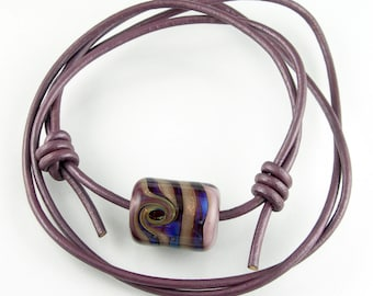 Lampwork Glass Focal Bead Long Leather Adjustable Necklace Triple Wrap Bracelet Metallic Iridescent Plum Purple