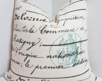 French Script Pillow Penmanship Blue Stamp Decorative Pillow Cover Throw Pillow 18x18