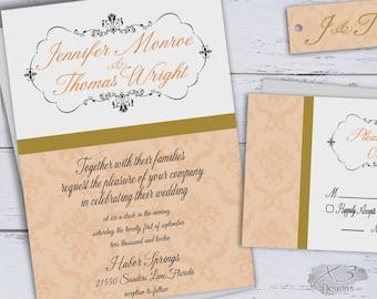 Classic Wedding Invitations Printable, DIY Elegant Wedding Invites, Modern Peach & Gold Damask Wedding Invitation, Traditional Wedding