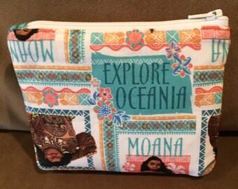 Moana, Maui, Disney-inspired, Zipper Pouch, Mini Purse, Change Purse, Organizer, Make Up Bag