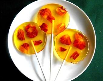Gourmet Pina Colada Rose Giant Lollipops Rose Petals Wedding Favors Custom Label