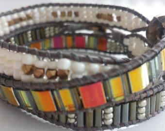 3-wrap brown golden tones ladder bracelet