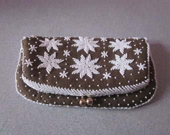 "1950s Brown Silk Clutch, Embroidered with White Glass Beads by ""Magid"""