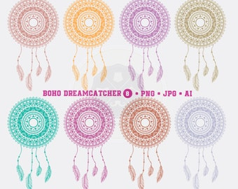 Boho Dreamcatcher Clipart,dreamcatcher clipart,feather dreamcatcher,digital download
