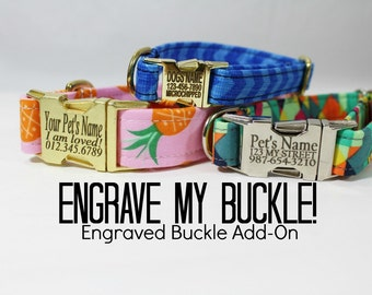 Engrave My Metal Buckle Add-On (UPGRADE ONLY - collar not included - cannot be purchased alone) - Engraved Metal Dog Buckle