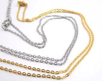 Dainty Stainless Steel Chain with Lobster Clasp - Soldered Link Necklace 1.5mm chain - Stainless Steel Cable Chain Gold or Silver (142)