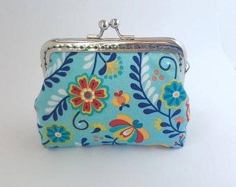 Coin purse, blue, flowers