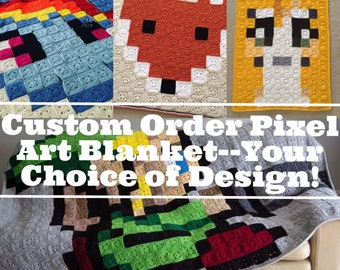 "MADE TO ORDER 50"" Square Custom Made Crochet 8-Bit Pixel Art Afghan Throw Blanket-Your Choice of Design"