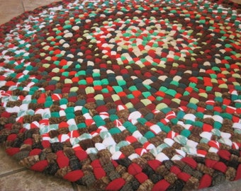 New Ready To Ship Handmade Colorful Hand Braided Recycled Round Fabric Red Rug / Rag Rug / Carpet / Wall Hanging for you bathroom / entry