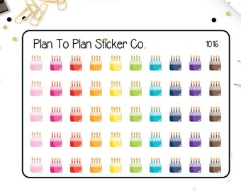 1016~~Birthday Cakes Planner Stickers.