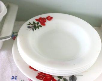 Vintage 60s JAJ Pyrex june rose soup pasta bowl