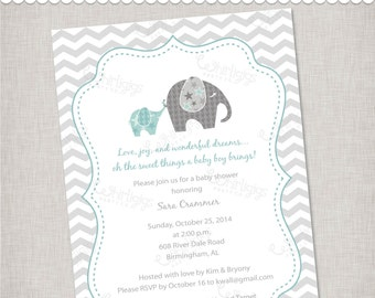 """Elephant Baby Shower Invitation """"Baby of Mine"""" - Printable Digital File or Printed Invitations with Envelopes - FREE SHIPPING"""