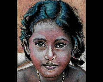 "original aceo """"cute indian girl""art card love nadia child,portrait"