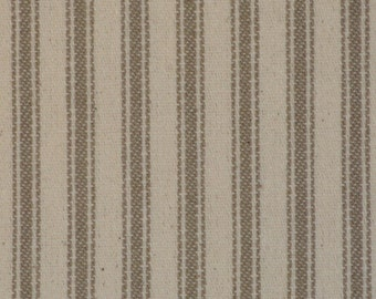 Taupe Ticking Material | Ticking Stripe Material | Vintage Inspired Ticking Material | Cotton Twill Ticking Material  | Primitive Ticking