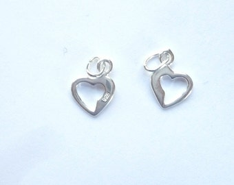 2 pcs Sterling silver heart charm.(10x8mm)