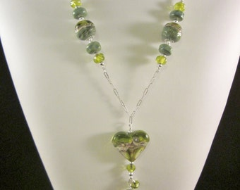"Sterling Silver Necklace- ""Olive You Truly"" The Heart Collection - Artisan Lampwork Glass, Swarovski Crystal, Unique, One of a Kind, SRAJD"