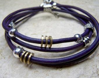Purple Ankle Bracelet, Double Wrap Leather Bracelet, Natural Dyed Leather, Petite to Plus Size,