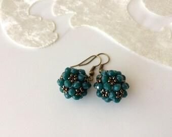 Bead Ball Earrings, Drop Earwire, Crystal Beaded Trendy Earrings, Boho Jewelry, Lightweight Dangle Earrings, Best Friend Anniversary Gift