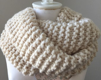 Chunky Ivory Knit Cowl, Knit Infinity Cowl, Bridal Cowl