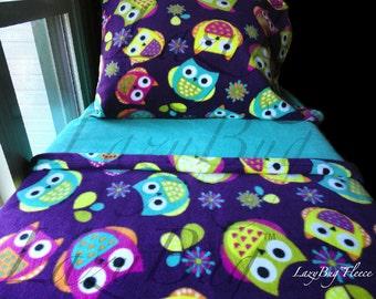 Girls Owls Toddler Fleece Bedding Set 'Purple Owls' Handmade Fits Crib and Toddler Beds