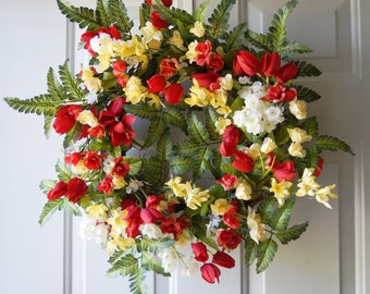 Roses Tulips Wreath, Large Wreath, Summer Wreath, Red Yellow White Green Fern Wreath, 22in
