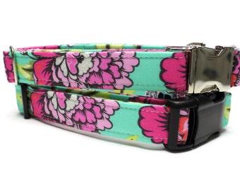 Floral Dog Collar | Teal Floral Dog Collar | Your choice of metal buckle or plastic buckle | FemaleDog Collar | Girl Dog Collar