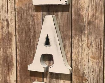 Distressed White Metal Eat Kitchen Sign