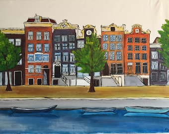 Canal Houses Amsterdam - Original, Acrylic Painting, Canals, Grachtengordel, Grachtenhuis, Art, Contemporary, Wall Art, Wall Decor On Canvas