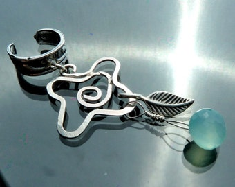 Dew Kissed Rose Ear cuff necklace pendant drop in sterling silver and blue chalcedony OOAK jewelry