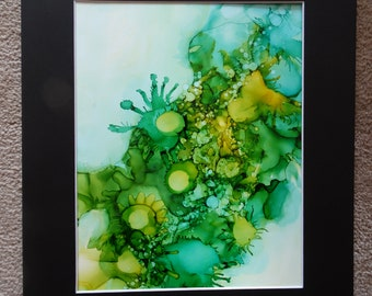 "Verde. Alcohol Ink on 9"" X 12"" Yupo."