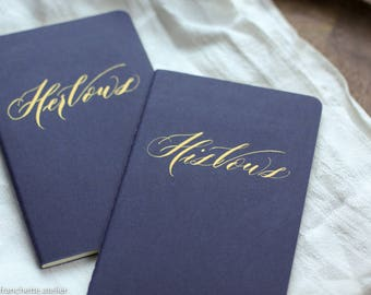 Blue Moleskine Vow books. Gold calligraphy wedding vow book. His and her vow book.