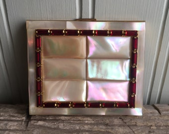 1950s Mother of Pearl and Rhinestone compact, Elgin