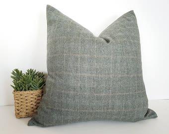 Gray Wool Plaid Pillow, Herringbone Pillow, Grey Pillow, Rustic Fall Decor, Pillow Covers, Textured,  Sage Gray,  Grey Rust Pillow,  20x20