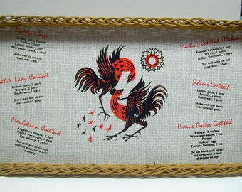Vintage wicker tray,rooster tray,cocktail recipe tray,cocktail rooster tray,cocktail recipes,cocktail tray,wicker rooster tray