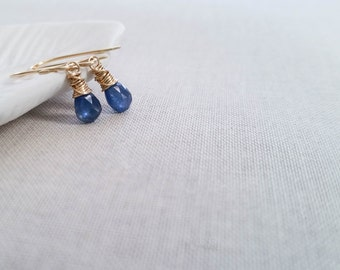 Blue Sapphire 14k Gold Fill Drops - Genuine Faceted Sapphire Wrapped in Goldfill Wire Simple Petite Earrings September Birthstone Gift