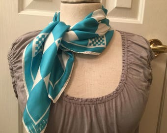 Vintage Vera Scarf Square Blue Turquoise White Checkered Excellent