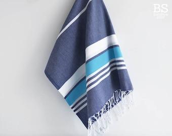 NEW / SALE 50 OFF/ Turkish Beach Bath Towel / Classic Peshtemal / Navy - Blue / Wedding Gift, Spa, Swim, Pool Towels and Pareo