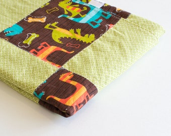Baby Blanket, Small Patchwork with Minky for Baby Boy Dino Dudes