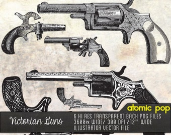 VIctorian Guns Line Drawings // Digital File Photoshop Brushes // Decoupage Collage Sheets // Adobe Illustrator Vector File