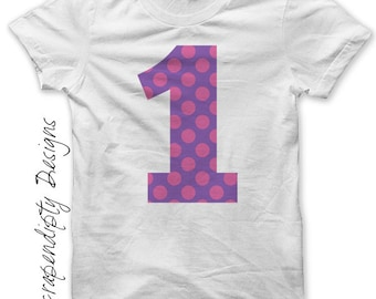 First Birthday Iron on Transfer - Number One Iron on Shirt PDF / Kids Girls Clothing Tshirt / 1st Birthday Shirt / Cute Baby Clothes IT55G