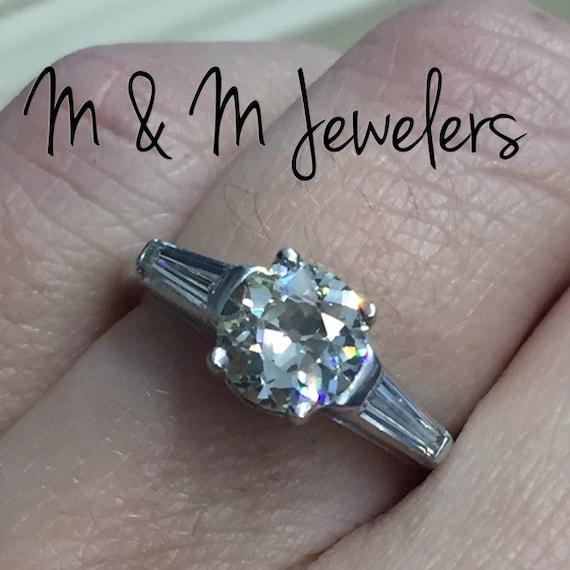 Platinum Ladies Antique 3 Stone Ring European Cut Diamond and Tapered Baguettes