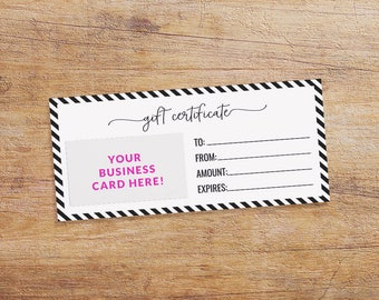 Gift Certificate Printable for your Small Business - Gift Certificate Download - Black and White Stripes - Customize with Your Business Card