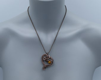 Mookaite Pendant, Wire Wrapped Heart, Mookaite Necklace, Copper Heart, Copper Boho Pendant, Daughter Gift