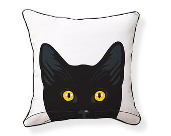 Yellow Eyes Cat Pillow