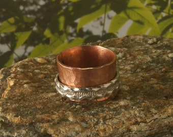 Copper Spinner Ring with Sterling Satelite Band