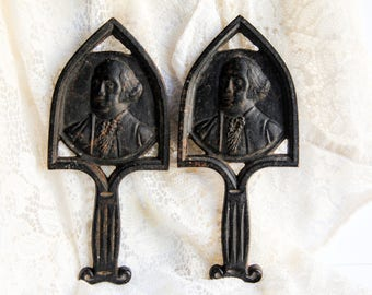 Vintage Cast Iron Trivets George Washington Virginia Metalcrafters ~ Colonial Style Rustic Primitive Country Kitchen