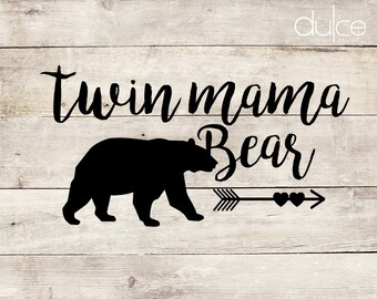 Twin Mama Bear Car or Laptop Vinyl Decal