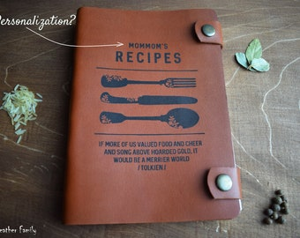 Personalized cookbook/Leather recipe book/Custom recipes/Birthday gift/3rd anniversary gift/Gift for mum